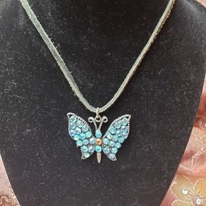 Blue crystal butterfly necklace.